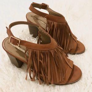 Leather Fringe Peep Toe Heels